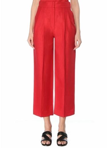 Brunello Cucinelli 101614071 Yüksek Bel Bol Kesim Pili Detaylı 4 Cepli Kadın Keten Pantolon Kırmızı